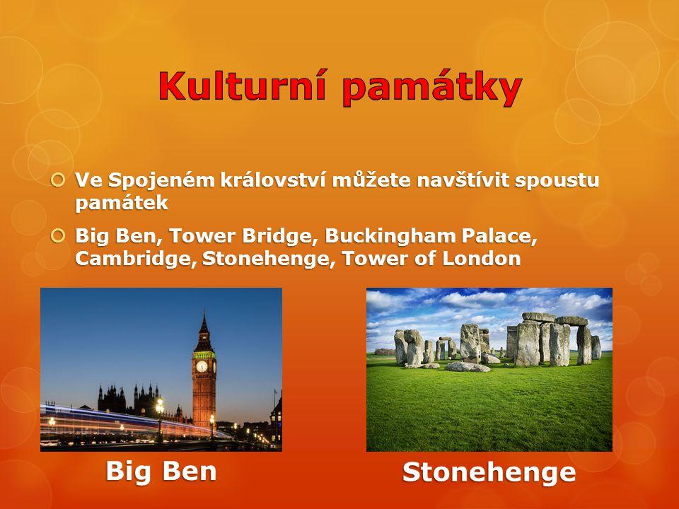Kulturní památky Big Ben Stonehenge