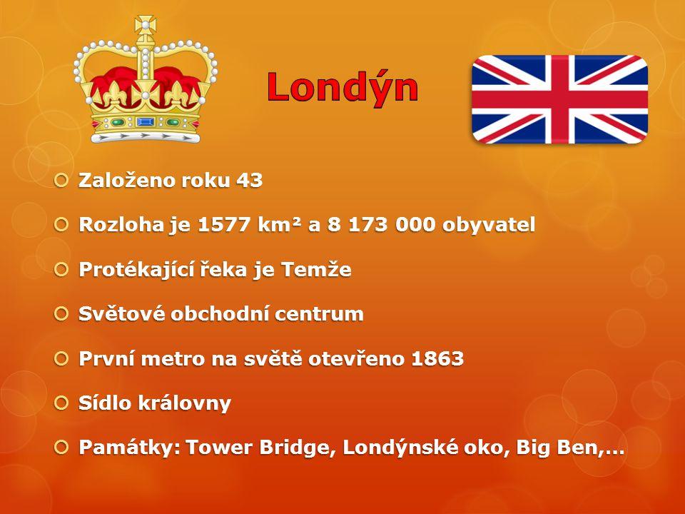 Londýn Založeno roku 43 Rozloha je 1577 km² a 8 173 000 obyvatel