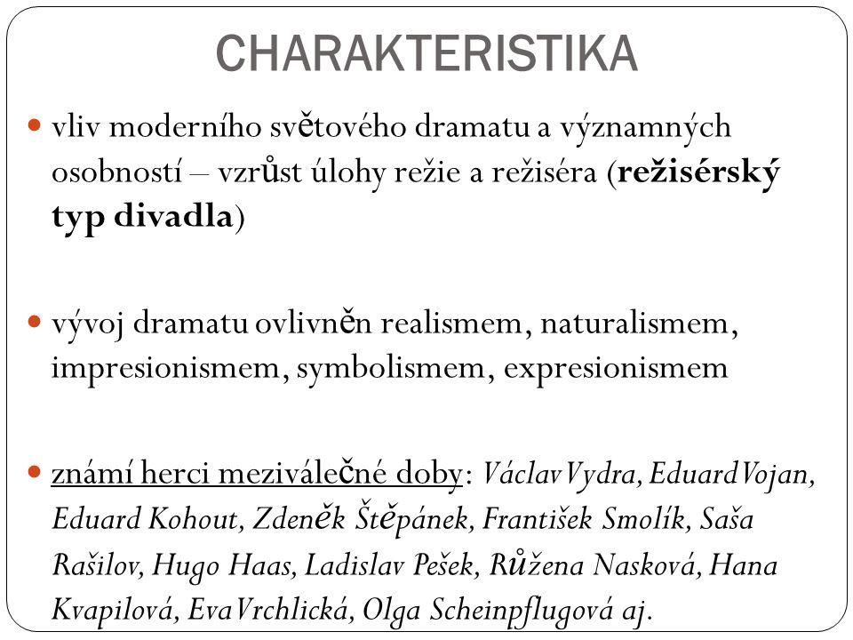 CHARAKTERISTIKA vliv moderního světového dramatu a významných osobností – vzrůst úlohy režie a režiséra (režisérský typ divadla)