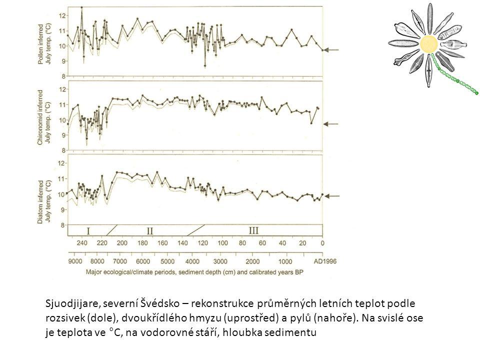 Sjuodjijare, severní Švédsko – rekonstrukce průměrných letních teplot podle rozsivek (dole), dvoukřídlého hmyzu (uprostřed) a pylů (nahoře).