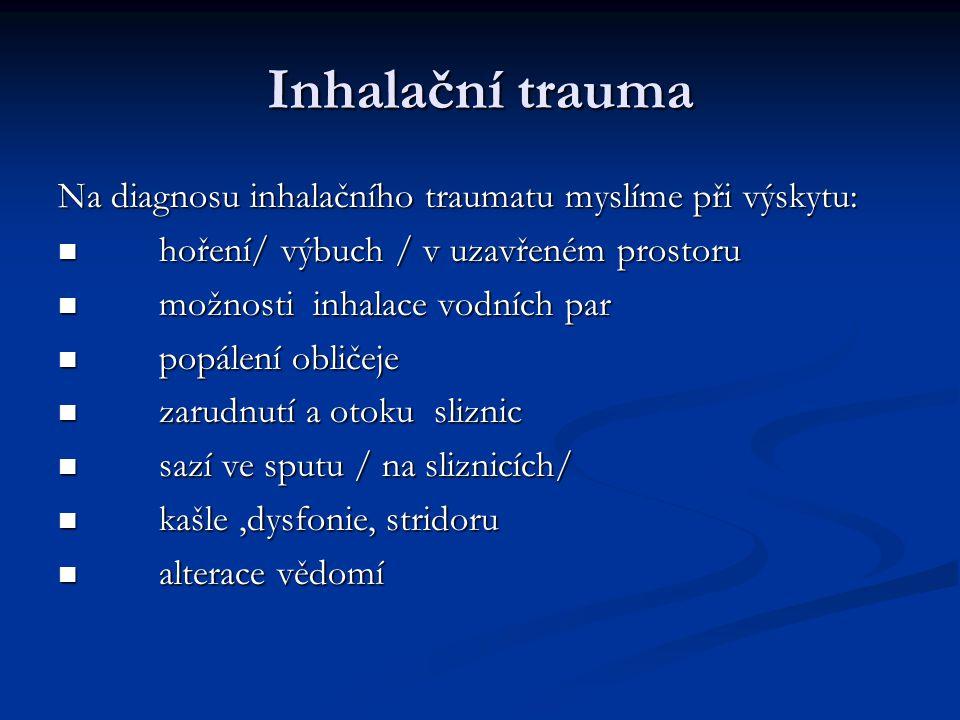 Inhalační trauma Na diagnosu inhalačního traumatu myslíme při výskytu:
