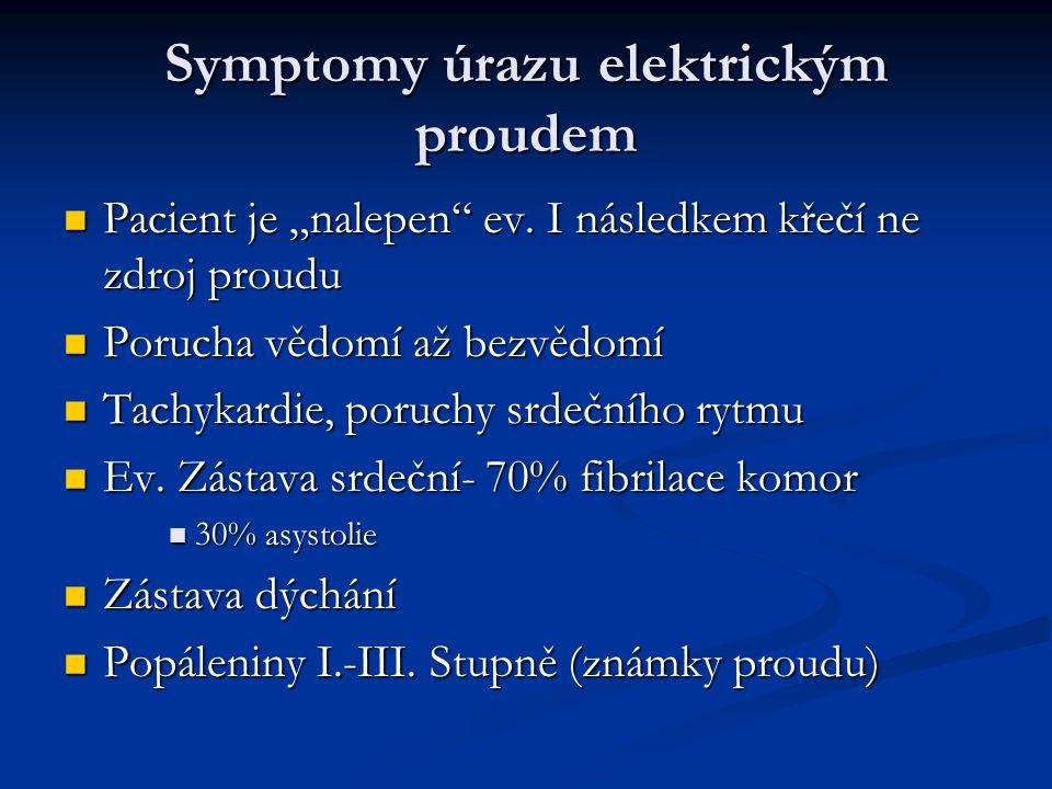 Symptomy úrazu elektrickým proudem
