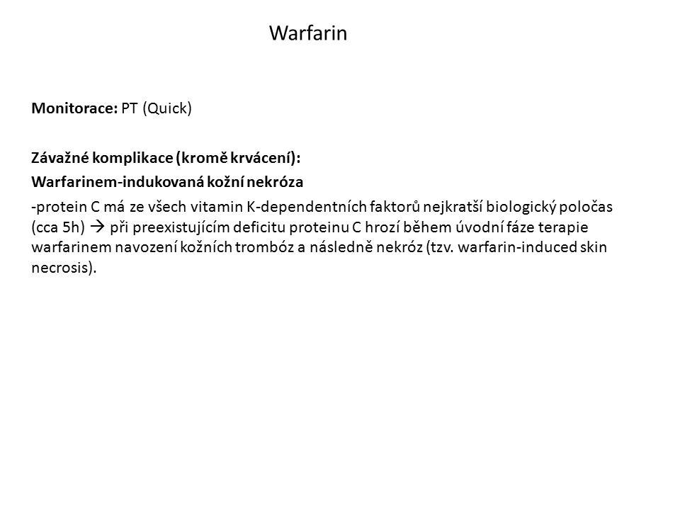 Warfarin Monitorace: PT (Quick) Závažné komplikace (kromě krvácení):