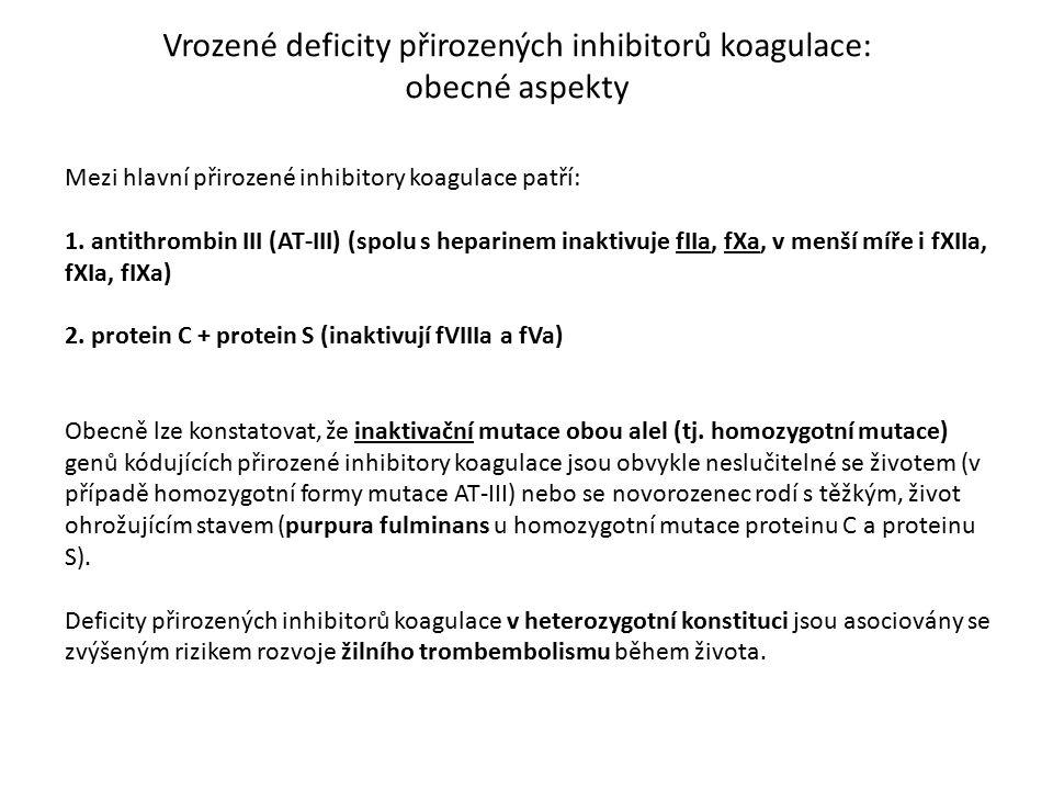Vrozené deficity přirozených inhibitorů koagulace: obecné aspekty