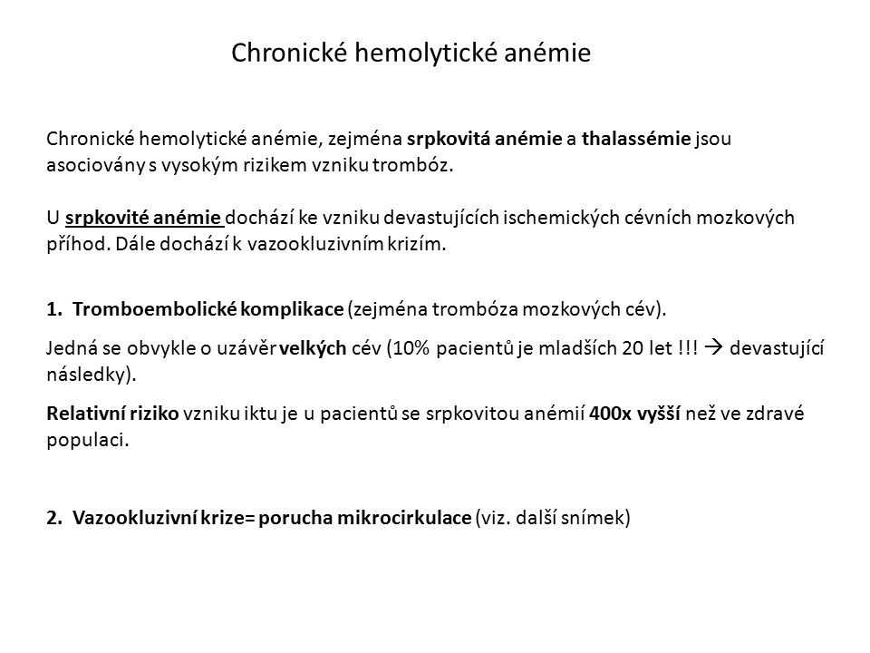 Chronické hemolytické anémie