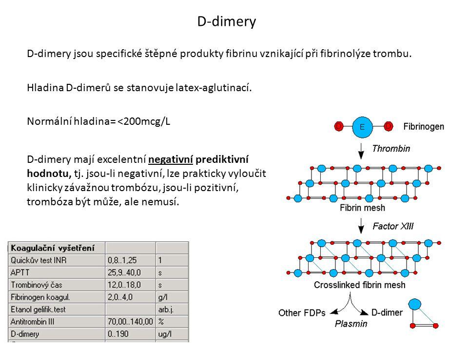 D-dimery D-dimery jsou specifické štěpné produkty fibrinu vznikající při fibrinolýze trombu. Hladina D-dimerů se stanovuje latex-aglutinací.