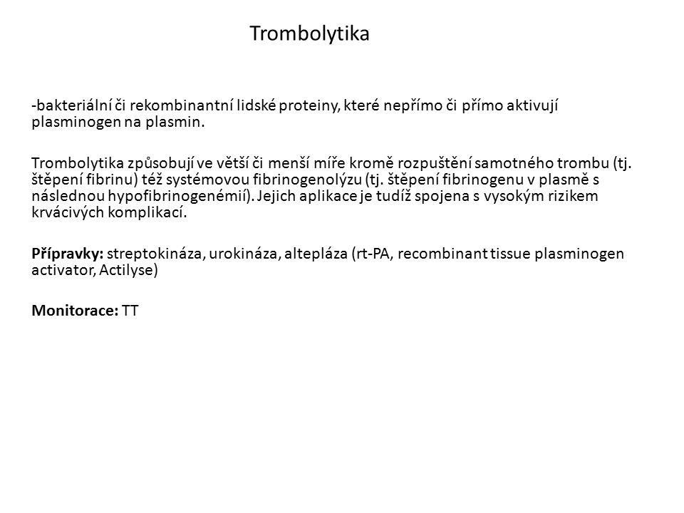 Trombolytika -bakteriální či rekombinantní lidské proteiny, které nepřímo či přímo aktivují plasminogen na plasmin.