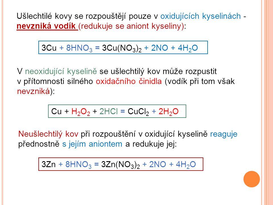 Ušlechtilé kovy se rozpouštějí pouze v oxidujících kyselinách - nevzniká vodík (redukuje se aniont kyseliny):