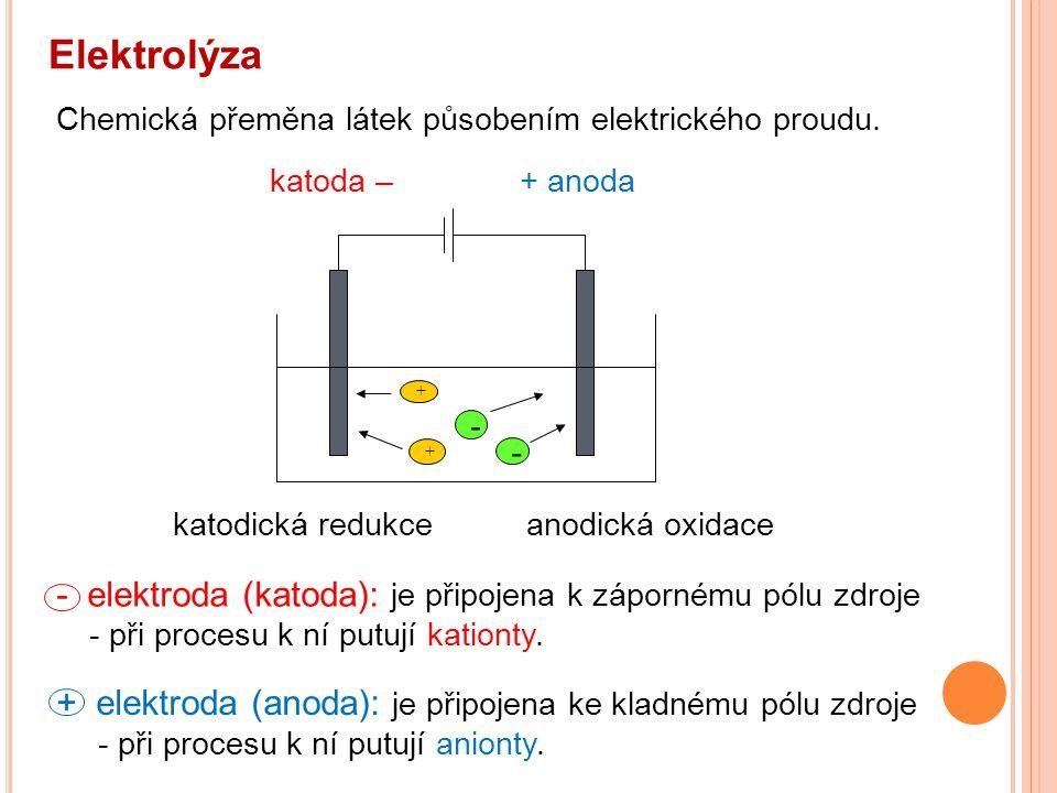 Elektrolýza Chemická přeměna látek působením elektrického proudu. - + katodická redukce anodická oxidace.