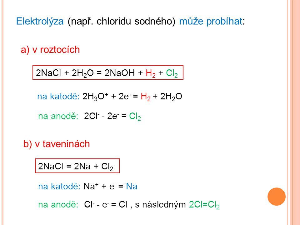 Elektrolýza (např. chloridu sodného) může probíhat: