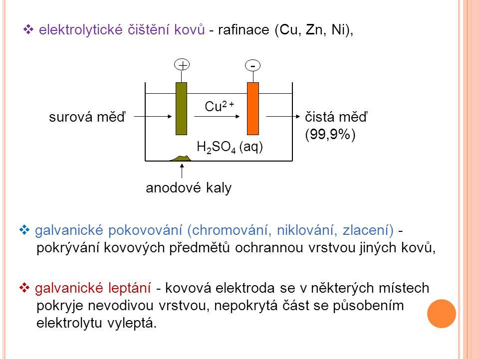 + - elektrolytické čištění kovů - rafinace (Cu, Zn, Ni), surová měď