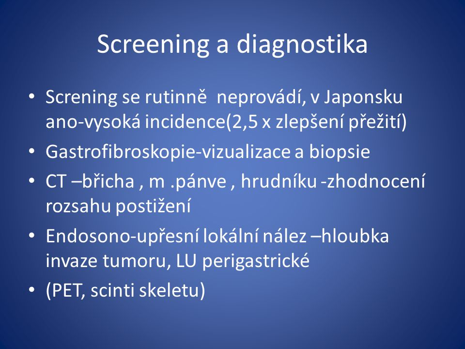 Screening a diagnostika