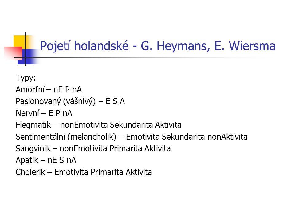 Pojetí holandské - G. Heymans, E. Wiersma