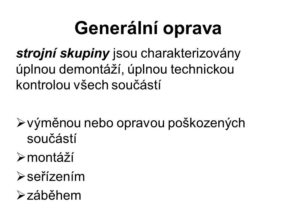 Generální oprava strojní skupiny jsou charakterizovány úplnou demontáží, úplnou technickou kontrolou všech součástí.