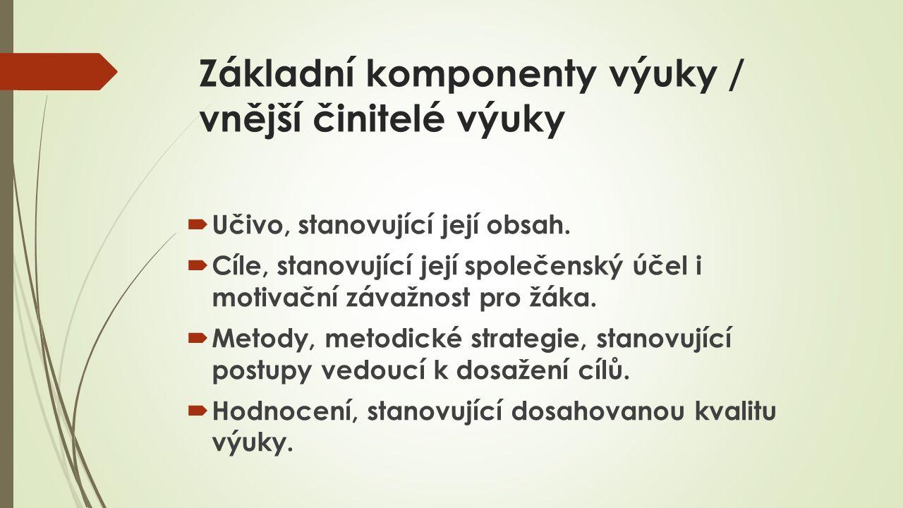 Základní komponenty výuky / vnější činitelé výuky