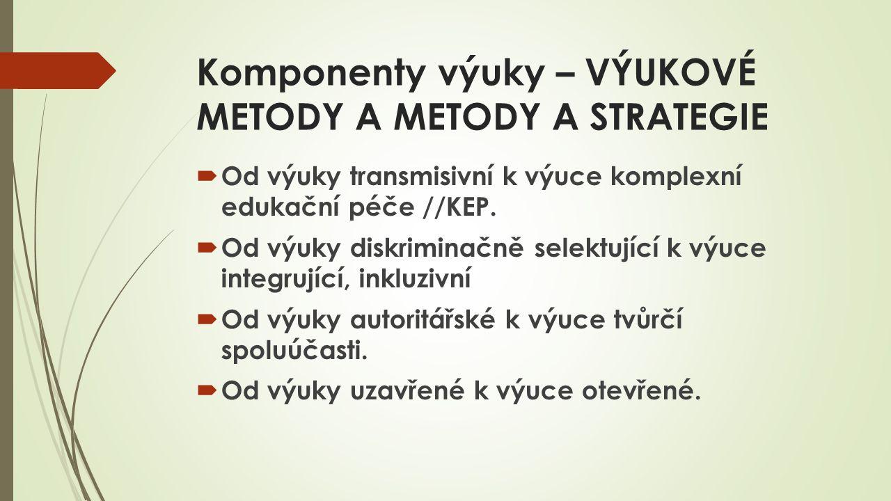 Komponenty výuky – VÝUKOVÉ METODY A METODY A STRATEGIE