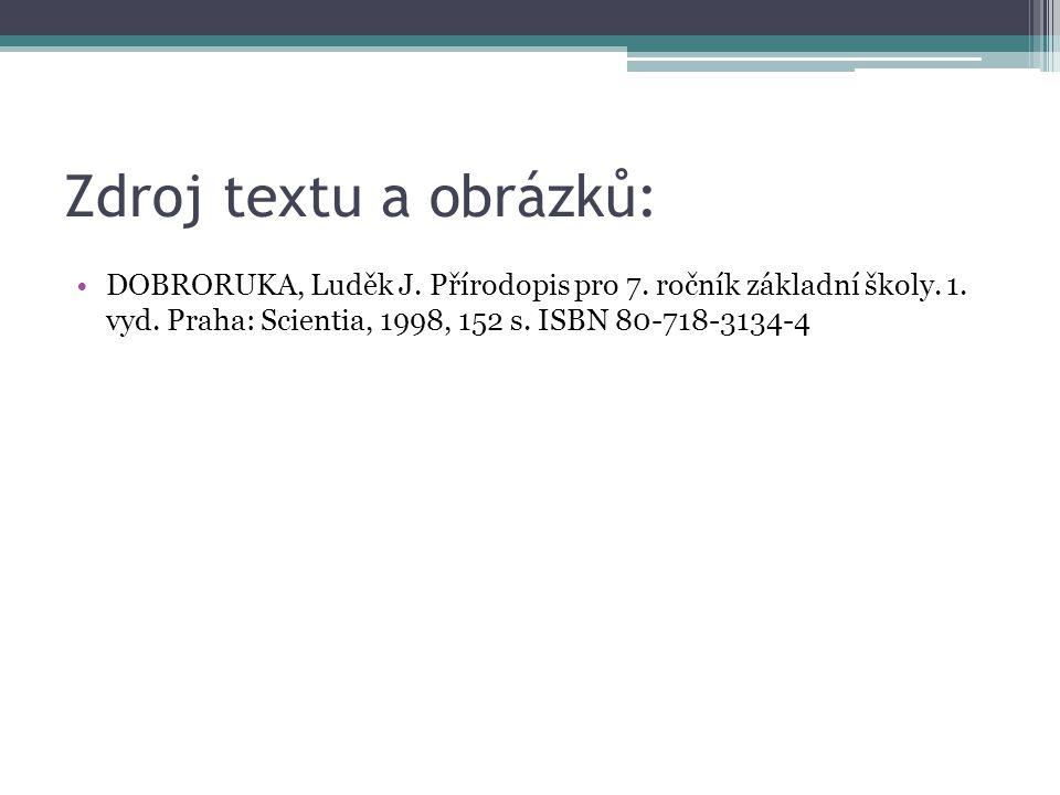Zdroj textu a obrázků: DOBRORUKA, Luděk J. Přírodopis pro 7.