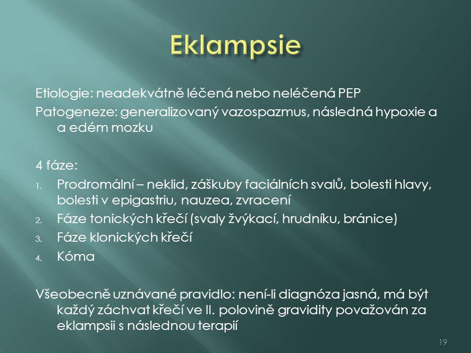 Eklampsie Etiologie: neadekvátně léčená nebo neléčená PEP