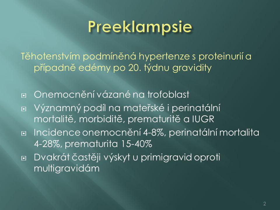 Preeklampsie Těhotenstvím podmíněná hypertenze s proteinurií a případně edémy po 20. týdnu gravidity.