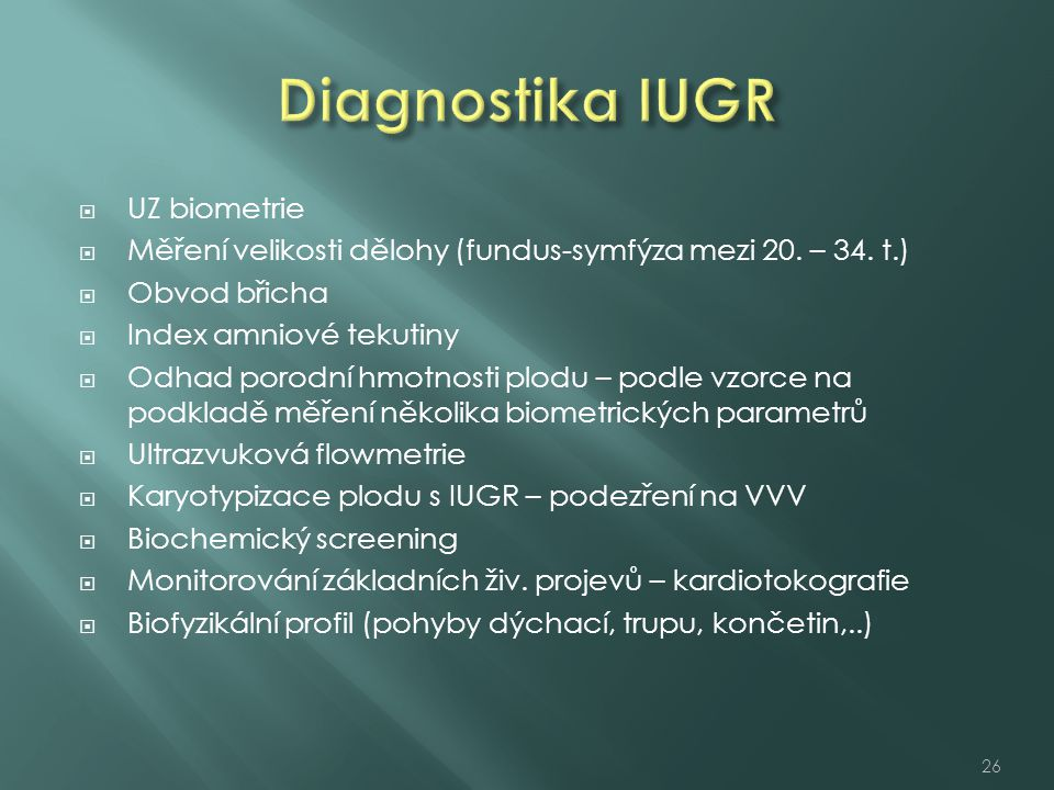 Diagnostika IUGR UZ biometrie