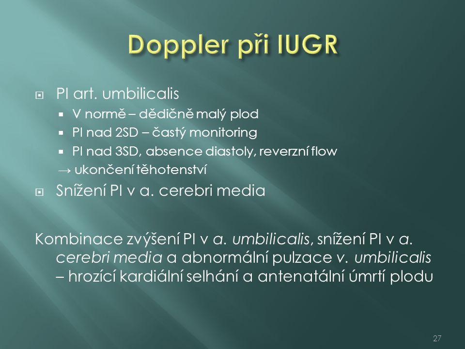 Doppler při IUGR PI art. umbilicalis Snížení PI v a. cerebri media
