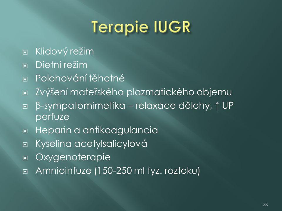 Terapie IUGR Klidový režim Dietní režim Polohování těhotné