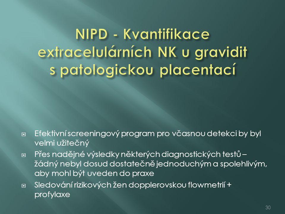 NIPD - Kvantifikace extracelulárních NK u gravidit s patologickou placentací