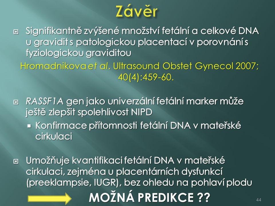 Hromadnikova et al. Ultrasound Obstet Gynecol 2007; 40(4):459-60.