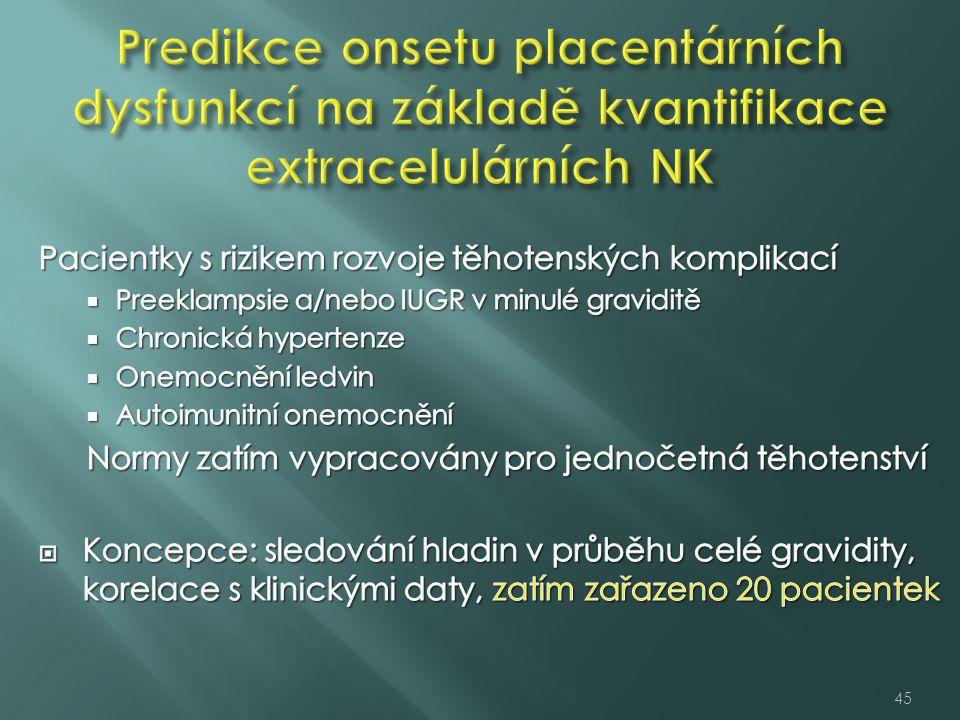 Predikce onsetu placentárních dysfunkcí na základě kvantifikace extracelulárních NK