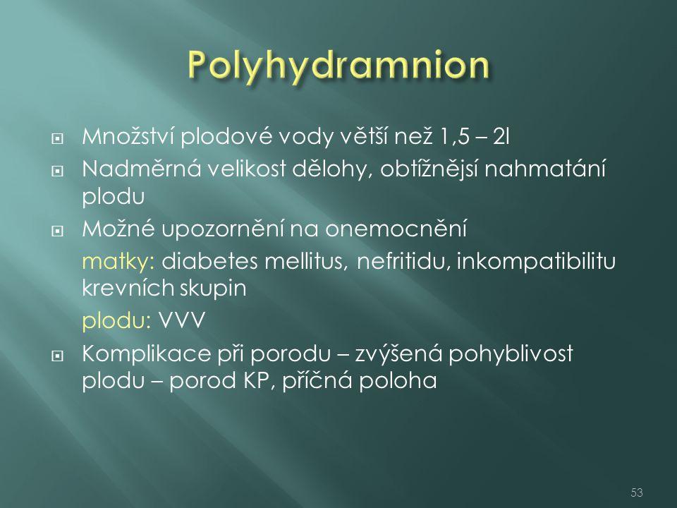 Polyhydramnion Množství plodové vody větší než 1,5 – 2l