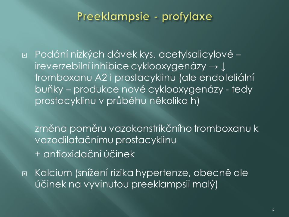 Preeklampsie - profylaxe