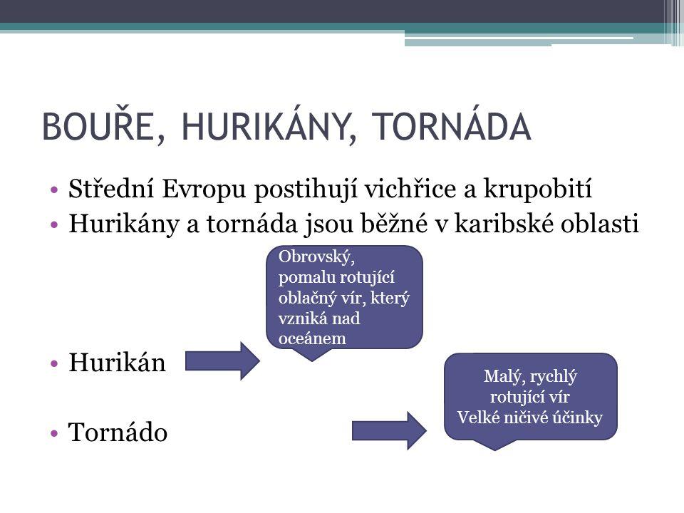 BOUŘE, HURIKÁNY, TORNÁDA