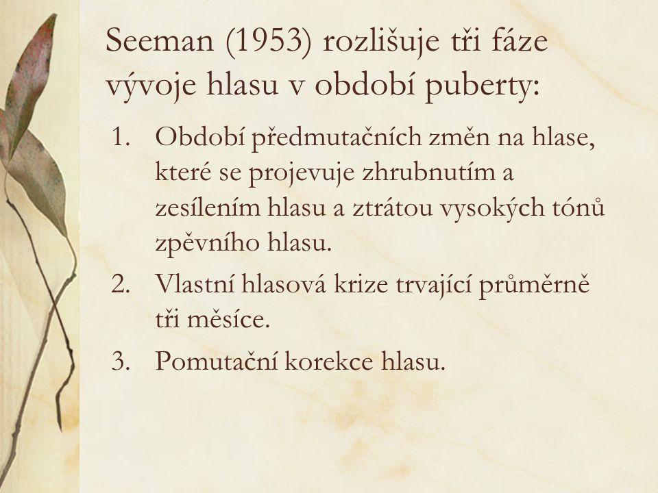 Seeman (1953) rozlišuje tři fáze vývoje hlasu v období puberty:
