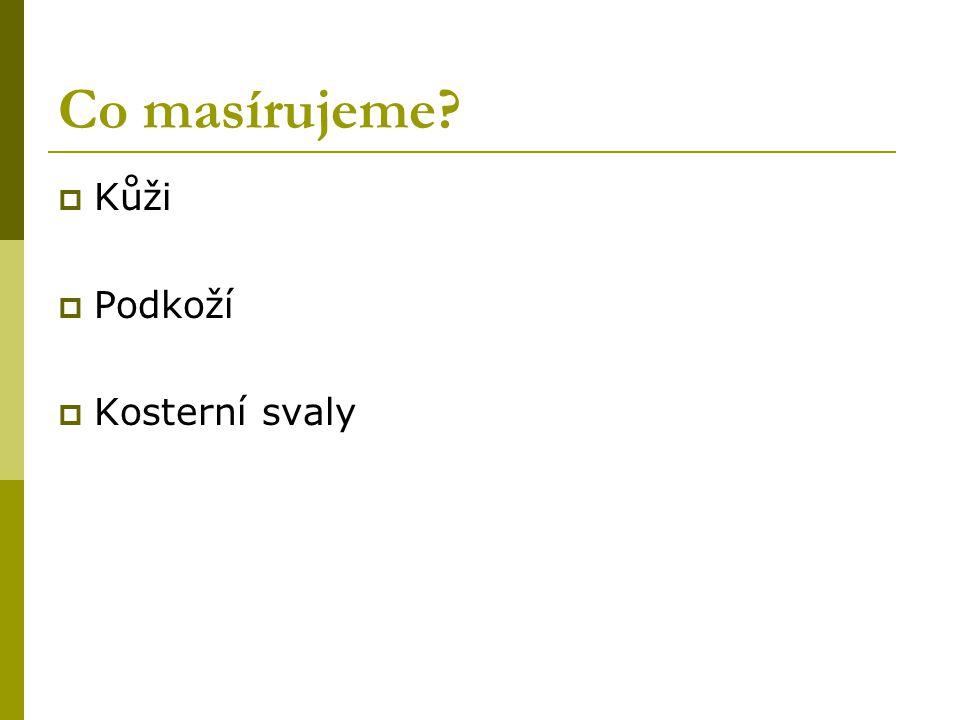 Co masírujeme Kůži Podkoží Kosterní svaly