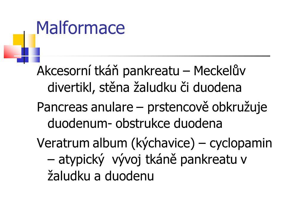 Malformace Akcesorní tkáň pankreatu – Meckelův divertikl, stěna žaludku či duodena.