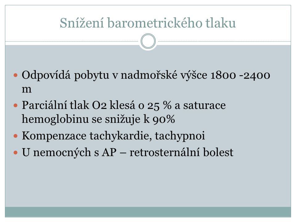 Snížení barometrického tlaku