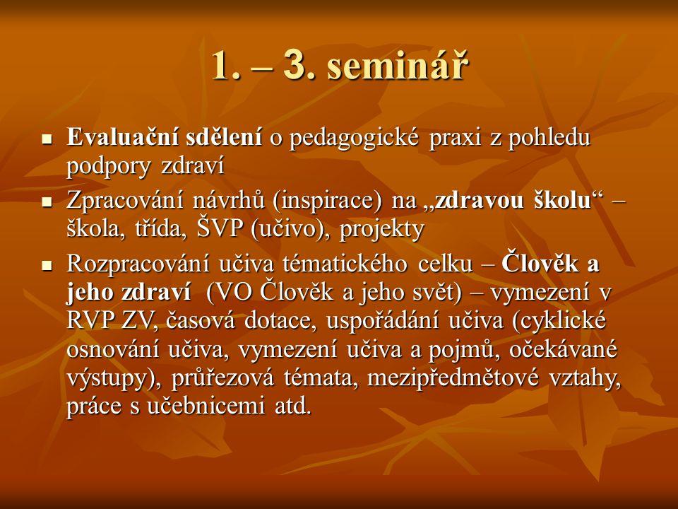 1. – 3. seminář Evaluační sdělení o pedagogické praxi z pohledu podpory zdraví.