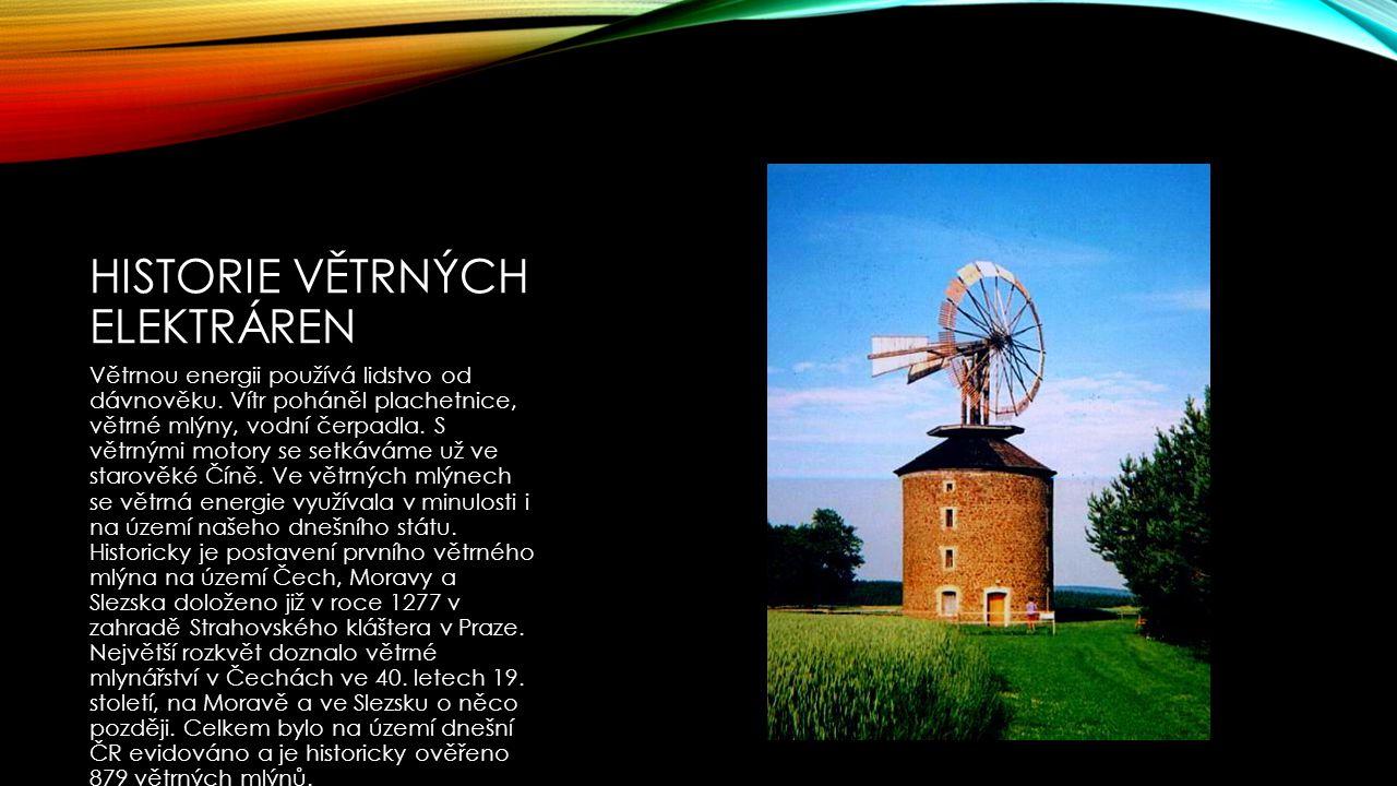 Historie větrných elektráren