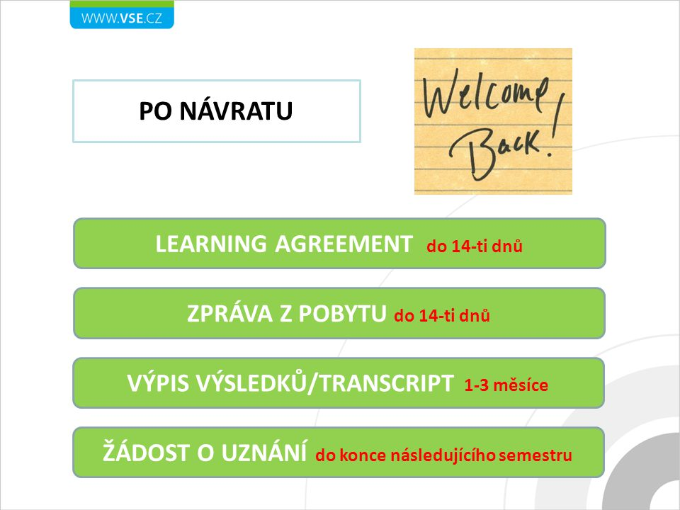 PO NÁVRATU LEARNING AGREEMENT do 14-ti dnů