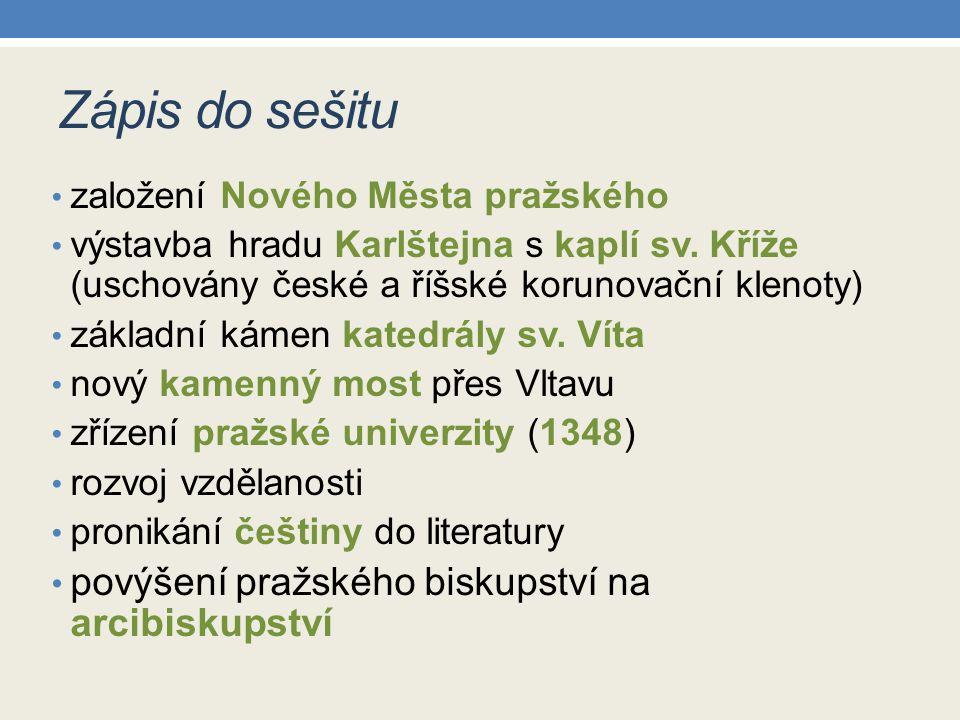 Zápis do sešitu povýšení pražského biskupství na arcibiskupství