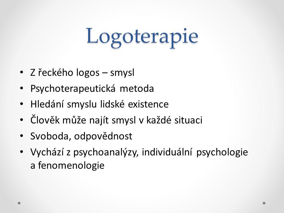 Logoterapie Z řeckého logos – smysl Psychoterapeutická metoda