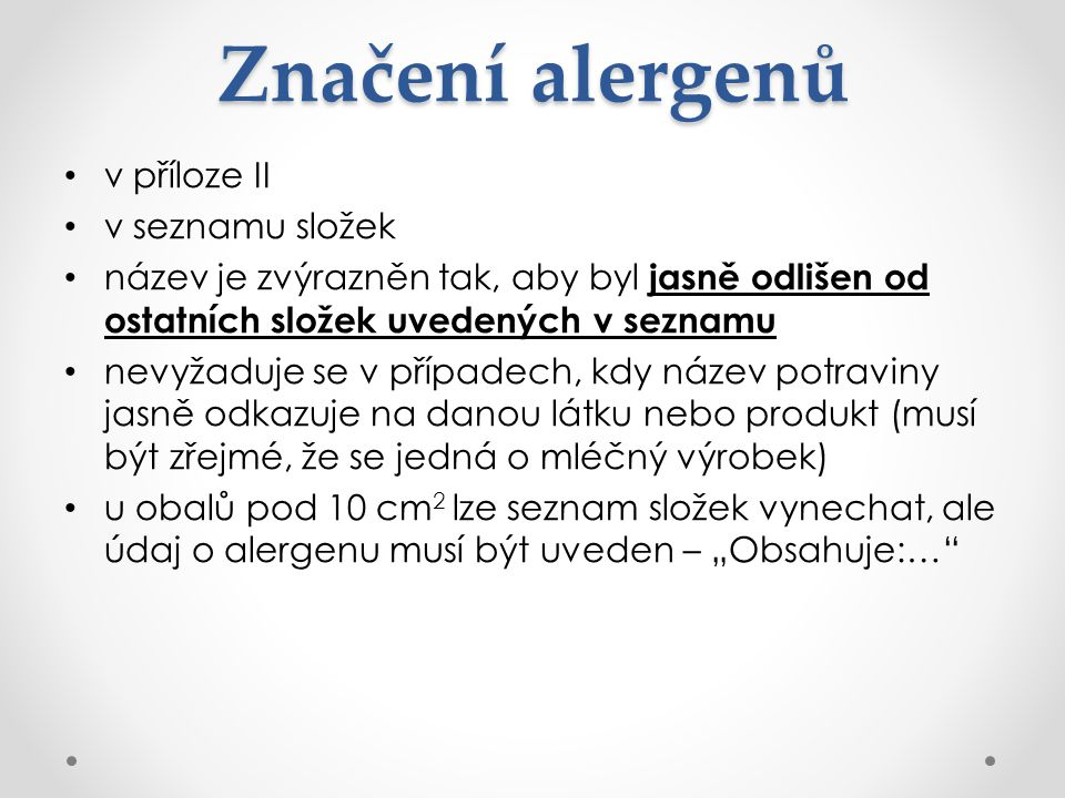 Značení alergenů v příloze II v seznamu složek