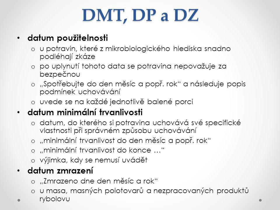 DMT, DP a DZ datum použitelnosti datum minimální trvanlivosti