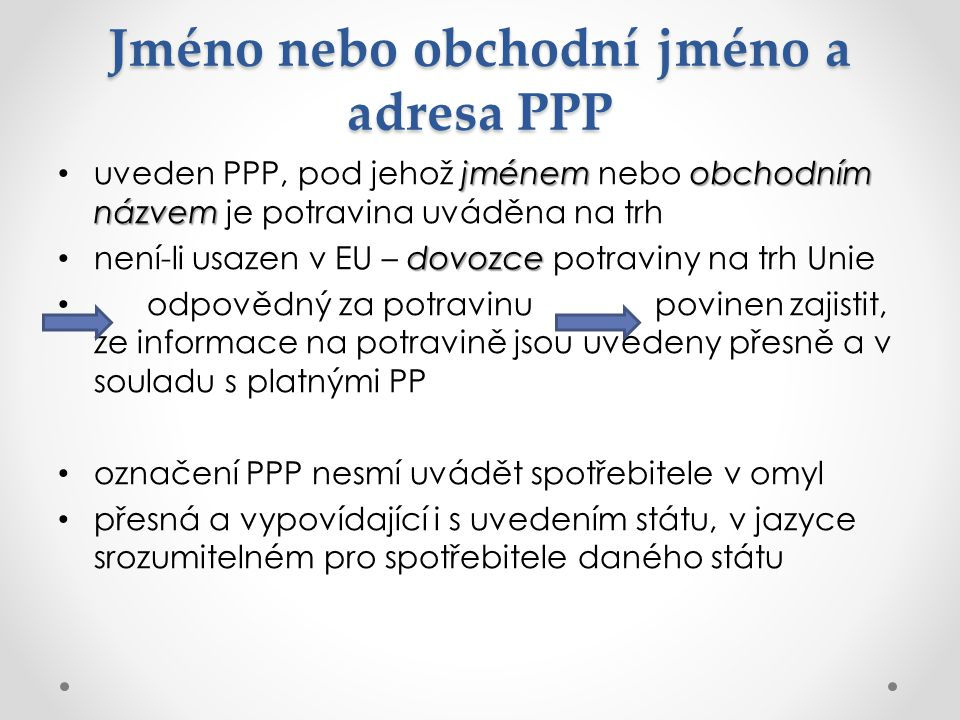 Jméno nebo obchodní jméno a adresa PPP