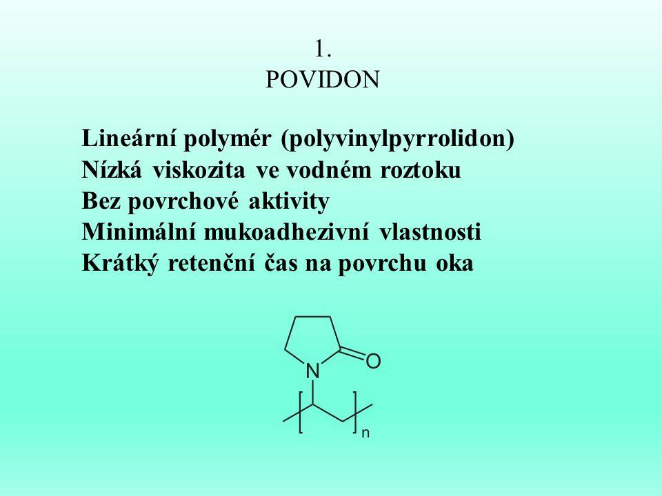 1. POVIDON. Lineární polymér (polyvinylpyrrolidon) Nízká viskozita ve vodném roztoku. Bez povrchové aktivity.