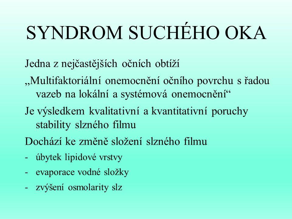 SYNDROM SUCHÉHO OKA Jedna z nejčastějších očních obtíží