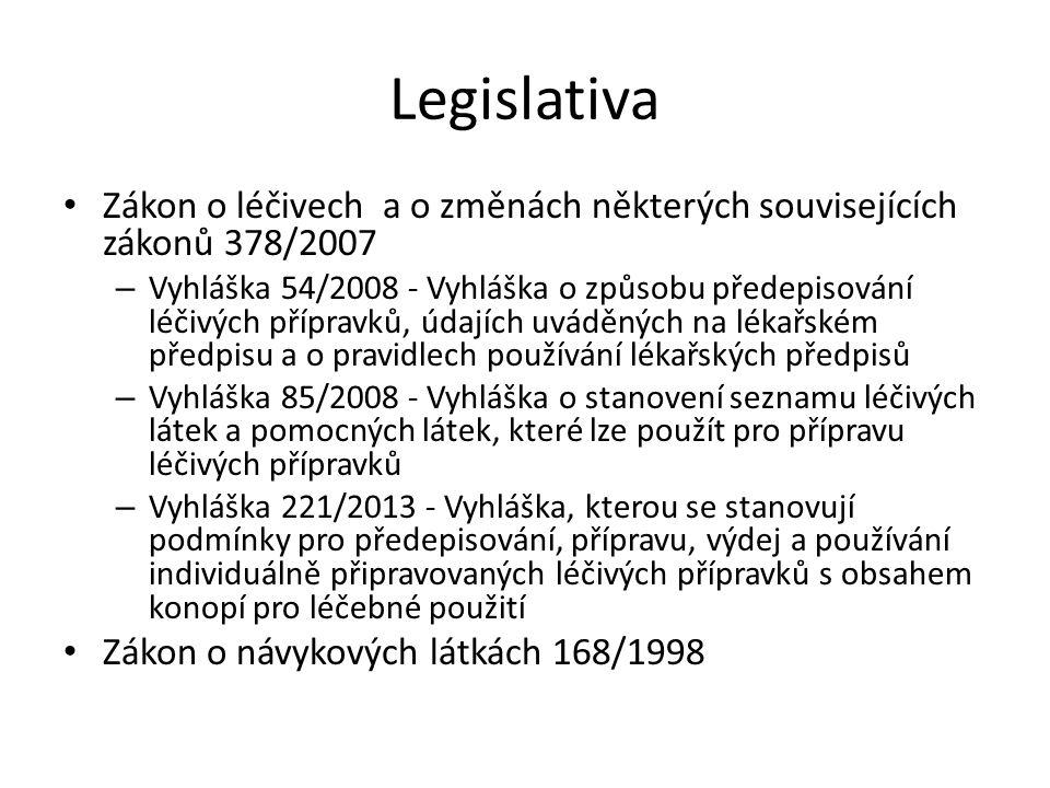 Legislativa Zákon o léčivech a o změnách některých souvisejících zákonů 378/2007.
