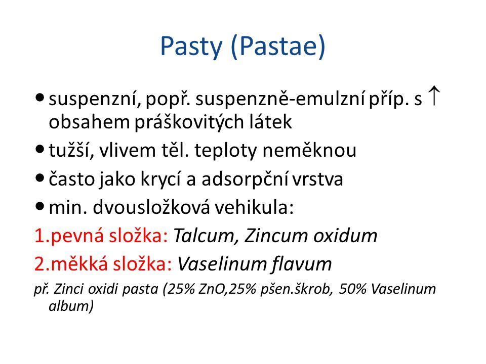 Pasty (Pastae) suspenzní, popř. suspenzně-emulzní příp. s  obsahem práškovitých látek. tužší, vlivem těl. teploty neměknou.