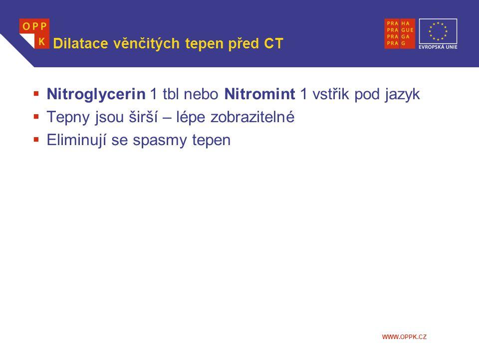 Dilatace věnčitých tepen před CT