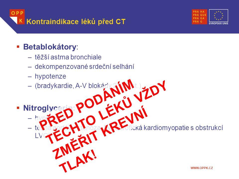 Kontraindikace léků před CT